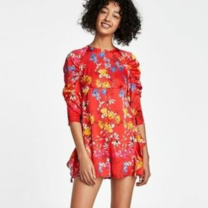 Zara size Small Red Floral Jumpsuit